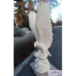 BAD-7616 Adlerfigur auf Felsen beeindruckende Steinfigur Steinadler Figur 173cm 210kg (Farbe: beige)