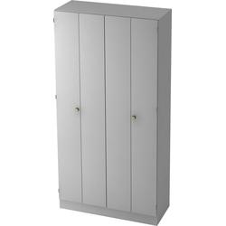 bümö Falttürenschrank OM-6900 Aktenschrank, Büroschrank für Ordner, Akten & Bücher mit 5 Ordnerhöhen - Dekor: Grau/Grau grau