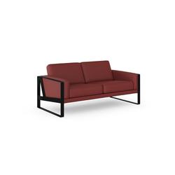 machalke® 2-Sitzer frame, Ledersofa mit Kufe in Schwarz rot