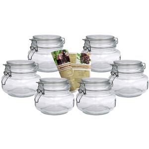 gouveo 6er Set Bügelgläser 500 ml Quadrat incl. 28-seitige Flaschendiscount-Rezeptbroschüre Aufbewahrungsgläser mit Bügelverschluss