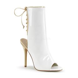 Stiletto Stiefelette AMUSE-1018 - Lack Weiß