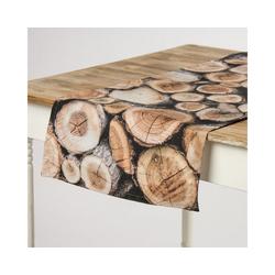 SCHÖNER LEBEN. Tischband Schöner Leben Tischläufer Holz Holzstämme braun 40x160cm, Schöner Leben Tischläufer Holz Holzstämme braun 40x160cm