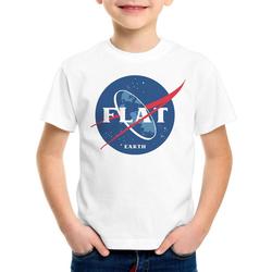 style3 Print-Shirt Kinder T-Shirt Flat Earth fernrohr weltraum astronomie weiß 116