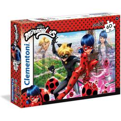 Clementoni® Steckpuzzle Clementoni 26427 - Miraculous - Ladybug - Puzzle, Supercolor, Maxi, 60 Teile, 60 Puzzleteile bunt