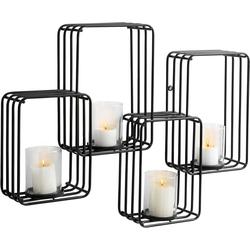 Wandkerzenhalter, Kerzenhalter, 82314932-0 schwarz 70x11,5x53 cm schwarz