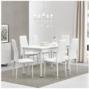 en.casa Essgruppe, (Set, 7-tlg., Esstisch mit 6 Stühlen), Stavanger 140x60cm Küchentisch Kunstleder Stühle weiß weiß