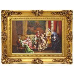 Casa Padrino Barockstil Öl Gemälde Konzert III Gold Prunk Rahmen 130 x H. 100 cm - Barock Gemälde