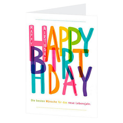 LUMA Geburtstagskarte Schrift bunt DIN B6