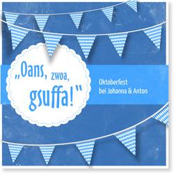 Einladungskarten Oktoberfest (10 Karten) selbst gestalten, Oktoberfest Gsuffa in Blau - Blau