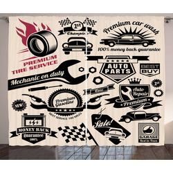 Gardine Schlafzimmer Kräuselband Vorhang mit Schlaufen und Haken, Abakuhaus, Retro Auto-Reparaturwerkstatt Logos 280 cm x 225 cm