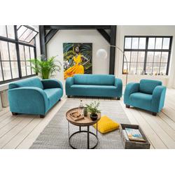 Polstergarnitur 3-tlg. in petrolfarbenem Stoff bezogen bestehend aus Sessel, 2-Sitzer und 3-Sitzer Sofa
