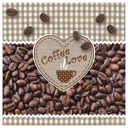 Linoows Papierserviette 20 Servietten, Kaffee Liebe, Coffee, Kaffebohnen, Motiv Kaffee Liebe, Coffee, Kaffebohnen mit Herz