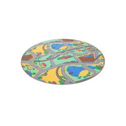 Kinderteppich Kinder Spiel Teppich Straßenteppich Grün Rund, Snapstyle, Höhe 4 mm 133 cm x 133 cm x 4 mm