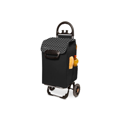 linovum Einkaufstrolley Einkaufstrolley HIMY XL schwarz gepunktet mit 78l Fassung & Seitentaschen