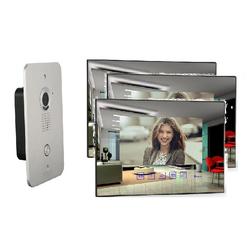 4 Draht Video Türsprechanlage Gegensprechanlage 3 X 7 Zoll Monitor Klingel Farb Kamera (spiegel)