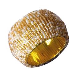 Bestlivings Serviettenring, Glasperlen, (1-tlg), Serviettenring, Handarbeit, Glasperlenring goldfarben