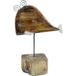 Guru-Shop Dekofigur Geschnitzte Holzfigur Wal, Moby Dick 2, auf..