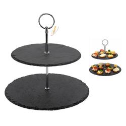 Etagere aus Schiefer mit 2 Etagen - für Cupcakes, Gebäck und Häppchen