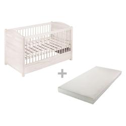 BioKinder - Das gesunde Kinderzimmer Babybett Luca, 70x140 cm mit Matratze weiß
