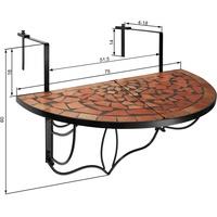 Tectake Balkontisch 75 x 65 x 62 cm terracotta klappbar