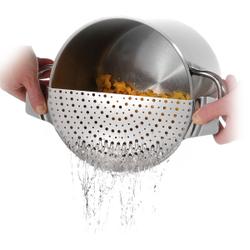WESTMARK Abgießhilfe Edelstahl, Geeignet für alle Topfgrößen bis 26 cm Durchmesser, 1 Stück