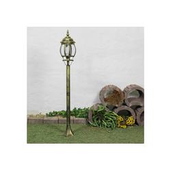 Licht-Erlebnisse Außen-Stehlampe BREST Wegeleuchte Aluminium Gold Antik rustikal E27 Stehlampe Lampe