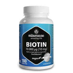 BIOTIN 10 mg hochdosiert vegan Tabletten 180 St