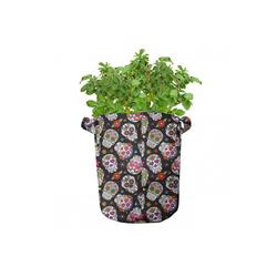Abakuhaus Pflanzkübel hochleistungsfähig Stofftöpfe mit Griffen für Pflanzen, Bunt Zuckerschädel Blumen 28 cm x 28 cm