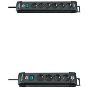 Brennenstuhl Premium-Line Steckdosenleiste 6-Fach (Steckerleiste mit Schalter und 3m Kabel) und Premium-Line Steckdosenleiste 4-Fach (Steckerleiste mit Schalter und 1,8m Kabel)