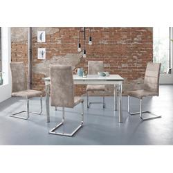 Essgruppe Nelson/Cosy, (Set, 5-tlg), mit 4 Stühlen, Tisch ausziehbar, Breite 140-200 cm grau