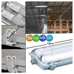 etc-shop Außen-Deckenleuchte, 5x LED Wannen Lampen Röhren Feucht Raum Lager Hallen Büro Decken Leuchten weiß