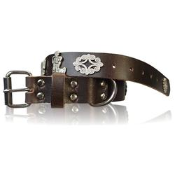 FRONHOFER Hunde-Halsband 18614, Ökoleder, Trachten Hundehalsband 3 cm Naturleder Appenzeller Zierteile braun 3 cm x 55 cm - 62 cm
