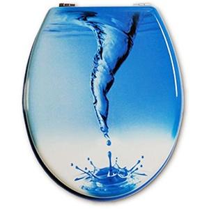 WC-Sitz & Toilettendeckel WC Deckel Klodeckel mit Absenkautomatik 43x37cm (BLUE WHIRL)