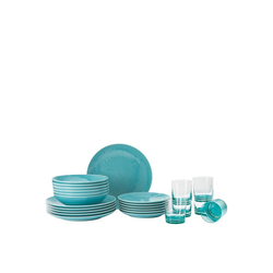 Rosenthal Geschirr-Set Mesh Colours Aqua Set 18-tlg./Teller+Glas, Porzellan blau