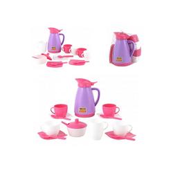Polesie Spielgeschirr Spielzeug Geschirr 40626, 16-teiliges Kaffee-Set, Tassen, Besteck
