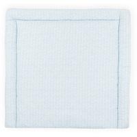 KraftKids Wickelauflage weiße Feder Muster auf Blau, Wickelunterlage 60x70 cm (BxT), Wickelkissen