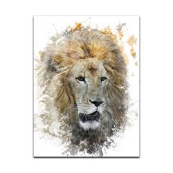 Bilderdepot24 Leinwandbild, Leinwandbild - Aquarell - Löwe 50 cm x 60 cm