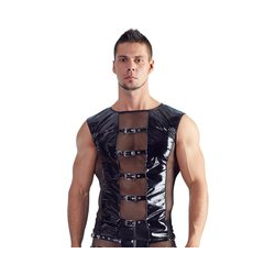 Lack-Shirt mit Netz und Schnallenriemen