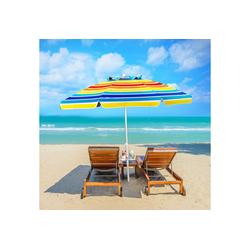 COSTWAY Sonnenschirm Strandschirm, Marktschirm, Gartenschirm, Terrassenschirm, mit Verankerung, für Garten, Strand, Outdoor bunt