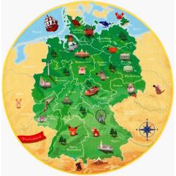 Kinderteppich DeutschlandKarte DE-1, Böing Carpet, rund, Höhe 2 mm, Spielteppich, Motiv Deutschlandkarte Ø 130 cm x 130 cm x 2 mm