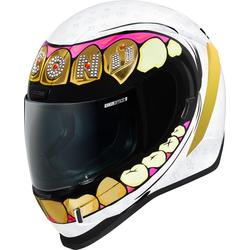 Icon Airform Grillz Helm, weiss-gold, Größe XL