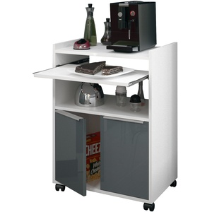 Berlioz Creations Servierwagen Küche mit Mikrowelle, Grau Hochglanz, 60 x 40
