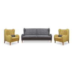 Komplet wypoczynkowy Grimmu kanapa z dwoma fotelami
