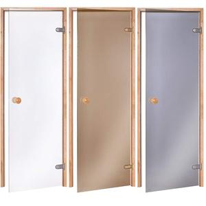AD Standard Saunatüren Abmessungen der Öffnung: 60x190 / 70x190/ 70x200 / 80x190 / 80x200; Glasfarbe: Transparent oder Bronze; Rahmenmaterial: Espe oder Erle (Variation: 80x190, Erle/Klar)