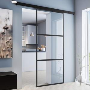 inova Glas-Schiebetür Zimmer-Tür 1025 x 2200 mm klarglas (VSG) mit 26 mm Alu-Rahmen schwarz Komplett-Set mit Laufschiene & Glastür