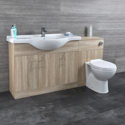 HudsonReed Waschtisch und Toiletten Set - Eiche 1440mm - ovale Toilette