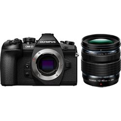Olympus E-M1II Body + M.Zuiko ED 12-45mm PRO Systemkamera (Flash FL-LM3, BLH-1, BCH-1, USB Cable CB-USB11, Cable holder CC-1)
