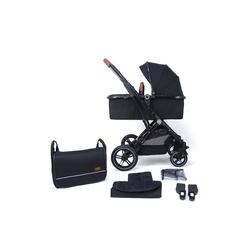 Pixini Kinder-Buggy, Kinderwagen Lania 2 in 1 inkl. Regenplane und Wickeltasche schwarz