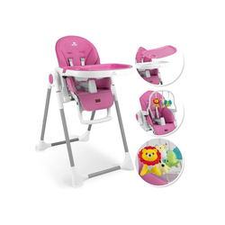KIDIZ Hochstuhl 3in1 Hochstuhl, Sitzerhöhung, Hocker, Kinderhochstuhl inkl. Spielbügel, Babyliege, Kombihochstuhl, verstellbare Rückenlehne und Höhe,mitwachsend ab 0 rosa
