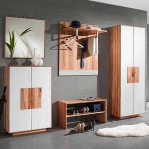 Komplett Garderoben Set in Weiß Kernbuche Massivholz (fünfteilig)